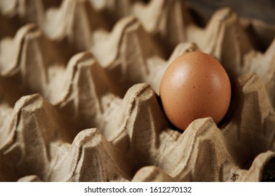 An egg inside a traditional egg container. Concept to describe food consumption in traditional markets. - Shutterstock ID 1612270132