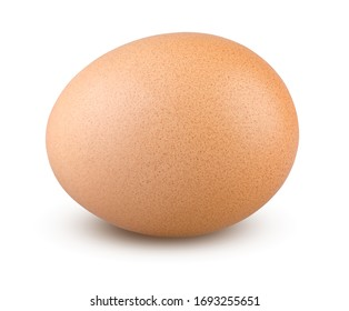 Egg Isolated. Chicken Egg on White Background. Highly Retouched Closeup. Full Depth of Field. Single Brown Egg Absolute Sharpness High Resolution and Quality Image.
