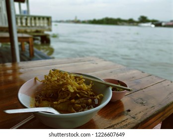 Egg Noodle in Chicken Curry (Kao Soi Kai) in Chao Phraya River Side Restaurant