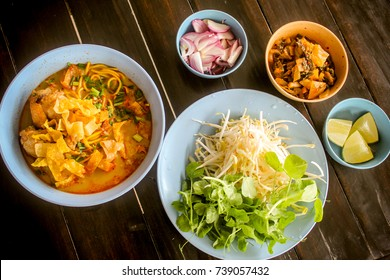 Egg Noodle in Chicken Curry (Kao Soi Kai ) .Famous and delicious food of ethnic Tai Yai.