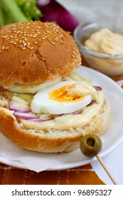 Egg, onion and celery sandwich