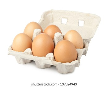 Egg packaging isolated on white background