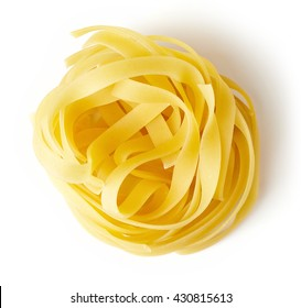 Egg pasta nest isolated on white background, top view