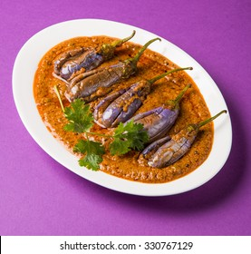 Egg Plant Curry or Brinjal Masala also known as Baigan ki sabzi in India, spicy and tasty dish usually served with chapati. selective focus