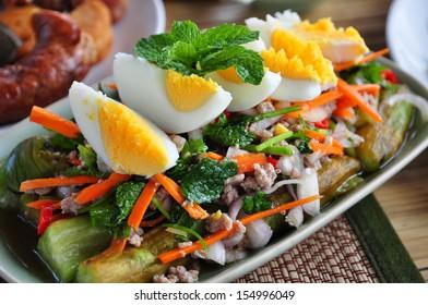 Egg plants spicy salad , Thailand