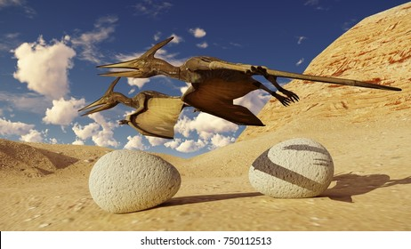 Egg and pterodactyl 3d rendering