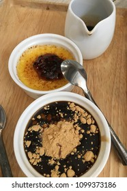 Egg pudding and black pudding topping brown sugar cane good deserts for healthy