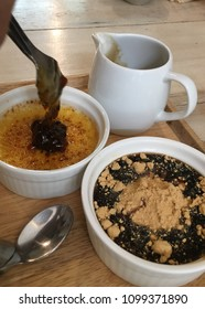 Egg pudding and black pudding with topping sugar cane for good health