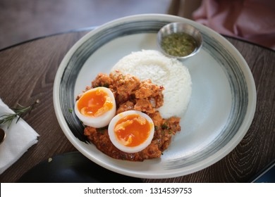egg and rice in the dish