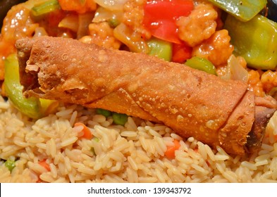 Egg Roll and Chicken Fried Rice