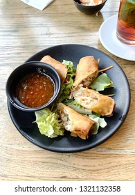 Egg roll. Patties rolls of dough stuffed with meat. Japanese or Chinese appetizer