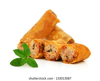 Egg rolls isolated on white background Vietnamese cuisine