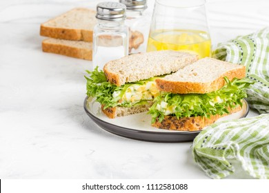 Egg salad sandwich, greens, lettuce, delicious healthy Breakfast