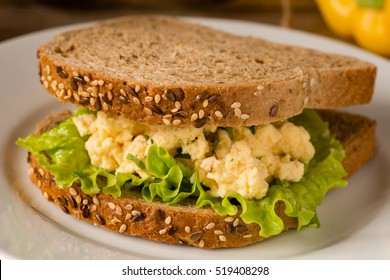 Egg salad sandwich with whole grain bread. Close up, selective focus