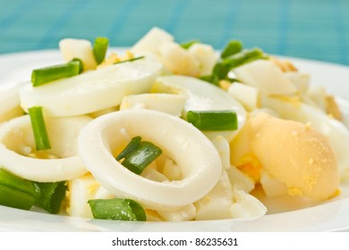 egg salad and squid with green onions