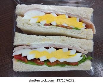 Egg sandwich in plastic package
