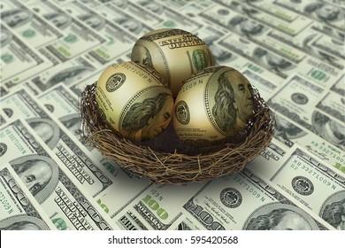 Egg shaped money in nest on dollar background