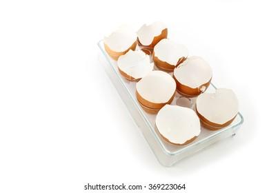 egg shell broken crack food on white background