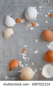 Egg shells of chicken on a baking tray