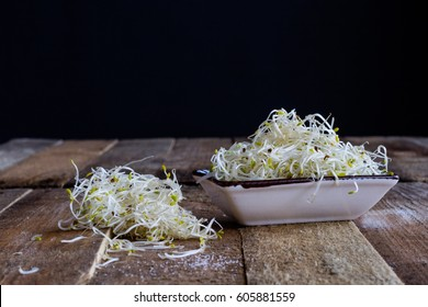 Egg and sprouts on a old table