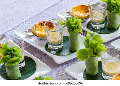 egg tart and salad rool isolate in traditional style