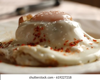 Egg Volcano on a Mushroom with Pepper Flakes