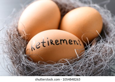 Egg with word RETIREMENT in nest, closeup. Pension planning