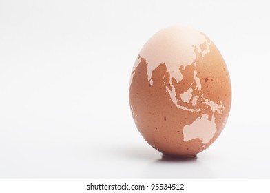 egg with world map printed on, Asia and Australia as focus point.