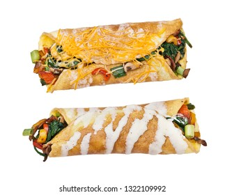 Egg wrap with vegetables and bacon isolated on white background