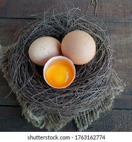 Egg yolk is good for you. The yolks also contain two nutrients ,lutein and zeaxanthin that support eye and brain health. served on bird nest and wooden table. selective focus.