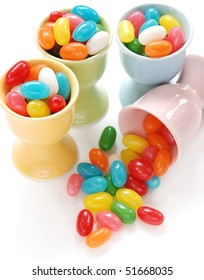 eggcups filled with jellybeans