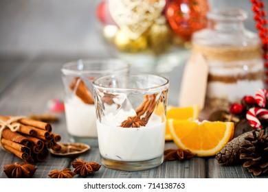 Eggnog with cinnamon for Christmas. Christmas concept. Selective focus.