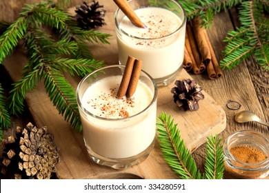 Eggnog with cinnamon for Christmas and winter holidays