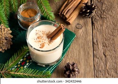 Eggnog with cinnamon for Cristmas and winter holidays