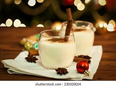 Eggnog with Cinnamon and Nutmeg at Christmas Time