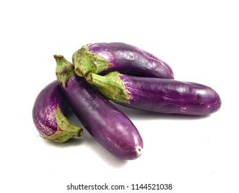 Eggplant or aubergine or brinjal on isolated white background