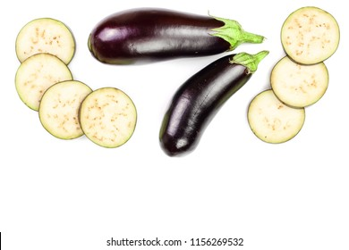 eggplant or aubergine isolated on white background with copy space for your text. Top view. Flat lay pattern