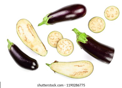 eggplant or aubergine isolated on white background. Top view. Flat lay pattern