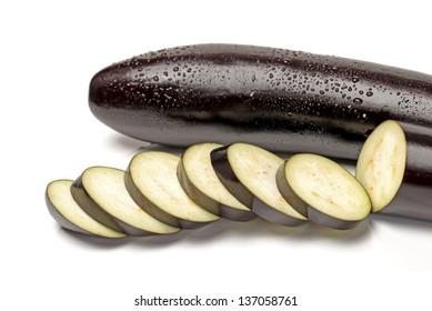 eggplant or aubergine on white background