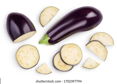 Eggplant or aubergine with slices isolated on white background. Clipping path and full depth of field. top, view, flat lay