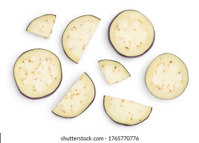 Eggplant or aubergine slices isolated on white background with clipping path and full depth of field. Top view. Flat lay.