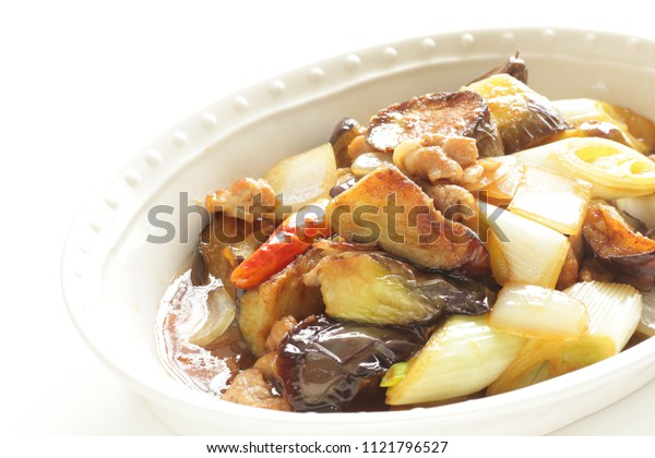 Eggplant and beef stir fried with scallion and onion