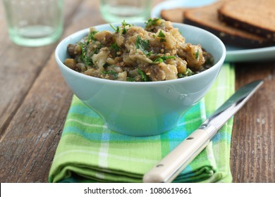 Eggplant caviar with parsley in a bowl