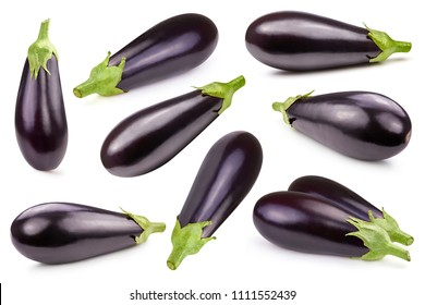 Eggplant collection isolated on white Clipping Path