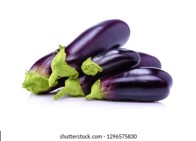 Eggplant from the garden.Eggplant on white background. Healthy food.  Fresh eggplant isolated on white background.
