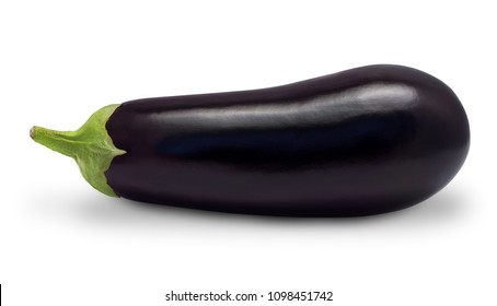 Eggplant isolated on white background. High resolution macro photo of fresh eggplant aubergine vegetable