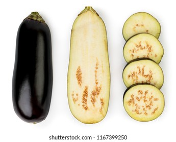 Eggplant isolated on white background. Eggplant, halved eggplant, aubergine ring top view.