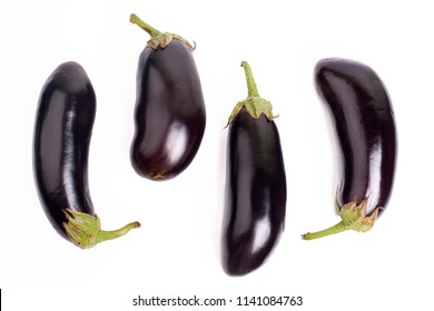 Eggplant on white background closeup isolated  top view