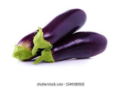 Eggplant on white background close-up. Ripe eggplant. Fresh eggplant from garden. Vegetarian food.