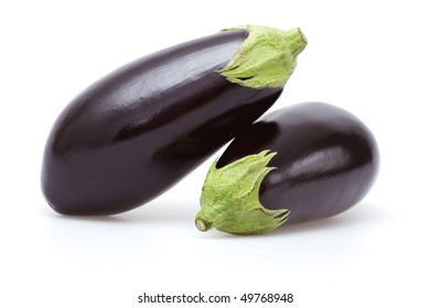 Eggplant on white background with soft shadow